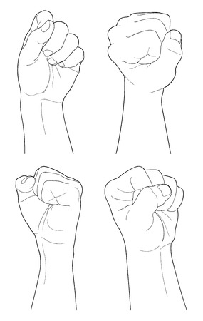 hand grip: Adult man hand to hold something, isolated on white Illustration