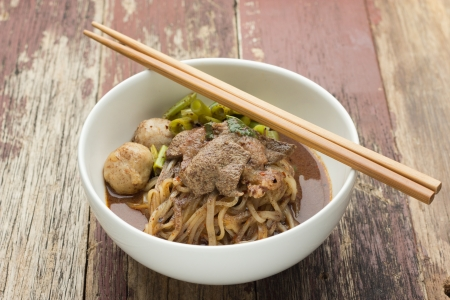 Minced pork noodles (Namtok noodles) photo