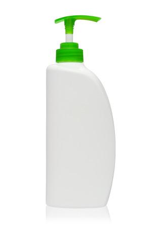 Green bottles of liquid soap on white background Stock Photo