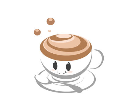 vecter: Happy cup of coffee cartoon character smiling. Illustration