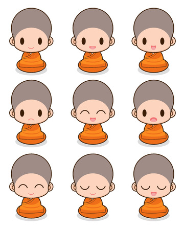 Facial expression of the chinese monks Vector