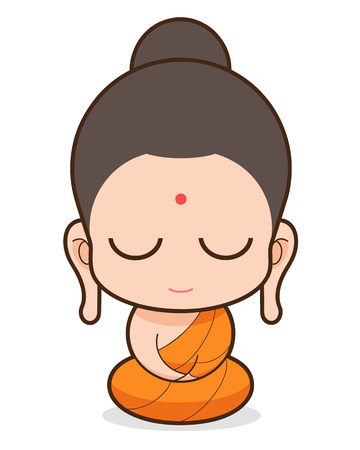 Buddhist Monk cartoon Vector