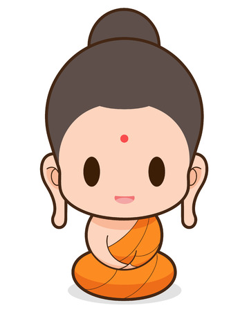 Buddhist Monk cartoon, illustration Vector