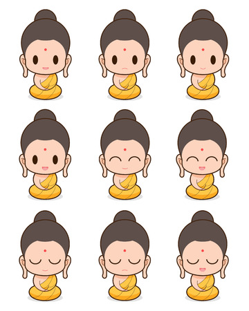 Buddhistischer Mönch cartoon, illustration