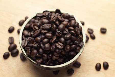 Fresh white cup of hot brazilian coffee beans Stock Photo