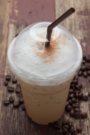 iced blended frappucino, coffee beans photo