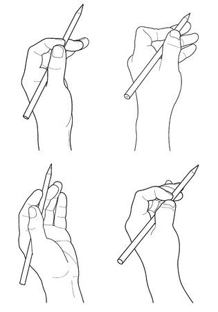 Hand holding pencil Çizim