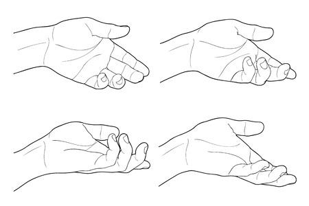 Adult man hand to hold something, isolated on white Illustration