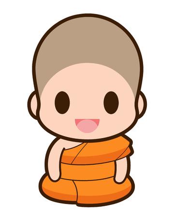 thai monk: Buddhist Monk cartoon, illustration