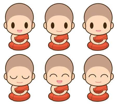 buddhist monk: Buddhist Monk illustration, Expression