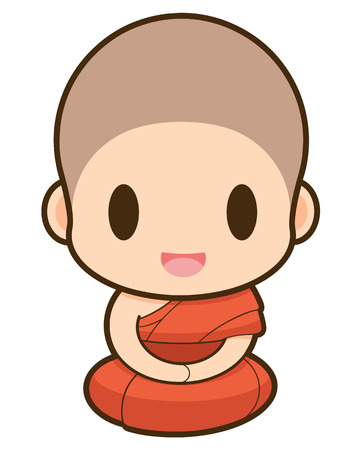 clergyman: Buddhist Monk cartoon, illustration
