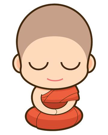 moine: Bande dessin�e moine bouddhiste, illustration