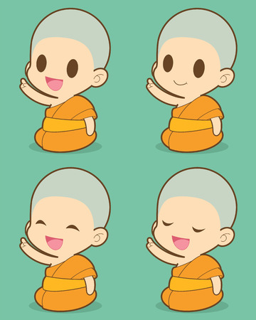 Buddhist Monk illustration, Expression Vector