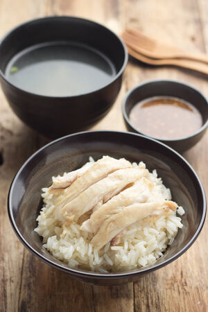 Khao man kai, Hainanese chicken rice (Thai food) photo