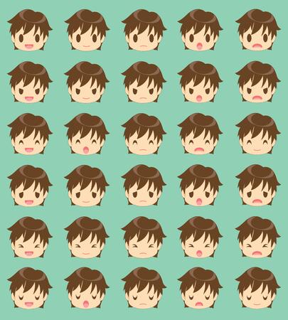 Facial expression of the boy Vector