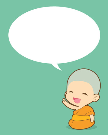 buddhist monk: Buddhist thinking and peoples talking with Speech Bubble