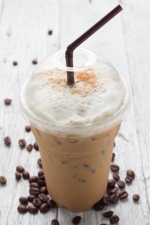 late summer: iced blended frappucino, coffee beans