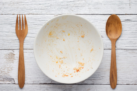 leftover: An empty plate, dirty after the meal is finished. View from above.