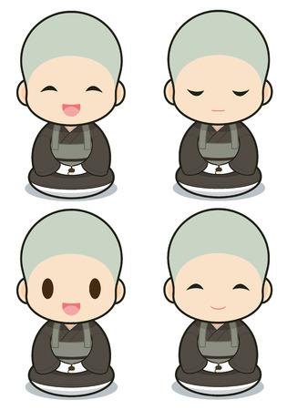 buddhist monk: Buddhist monasticism cartoon, japanese