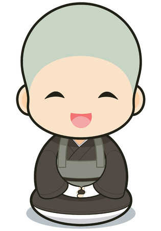 Buddhist monasticism cartoon, japanese Vector