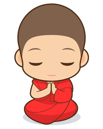 Tibetan Buddhism cartoon, Tibetan Buddhist monk Vector