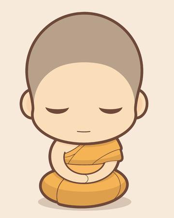 Buddhist Monk cartoon Vector