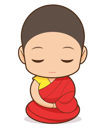 チベット仏教漫画、チベット仏教の僧侶  イラスト・ベクター素材