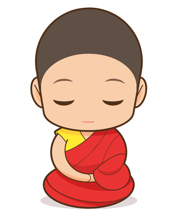 Tibetan Buddhism cartoon, Tibetan Buddhist monk 向量圖像