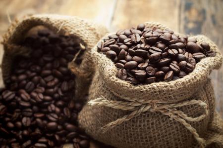 golden bean: Coffee beans in bag
