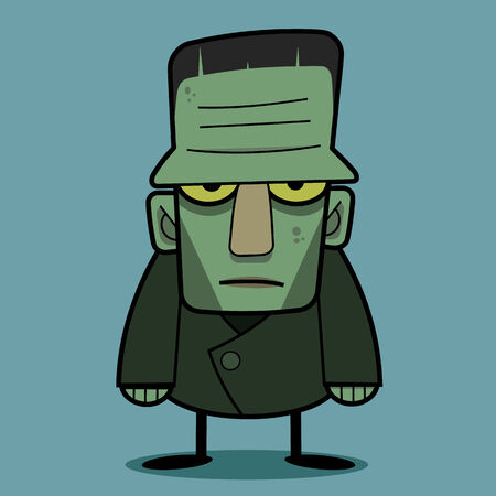 classic monster: A Halloween cartoon Frankenstein monster character standing with his arms out in classic horror movie pose