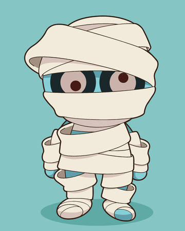 face covered: Cartoon stand mummy. Vector clip art illustration with simple gradients. All in a single layer