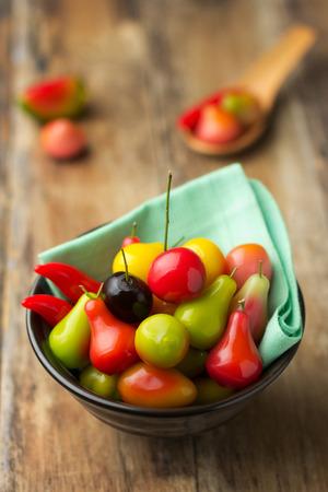 Deletable imitation fruits, Thai dessert, sweetmeat photo