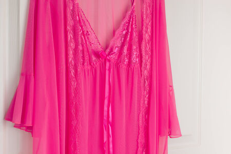 robes: Pink See Through Nightie in Sleepwear and Robes for Women Stock Photo