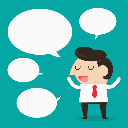 speculation: Cartoon businessman talking with speech balloon