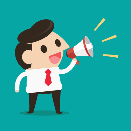loud speaker: Young businessman with a megaphone, Business concept Illustration