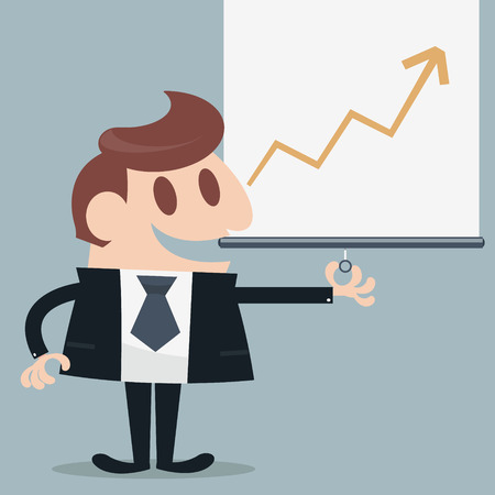 narrate: Businessman presented infographic cartoon eps 10 vector