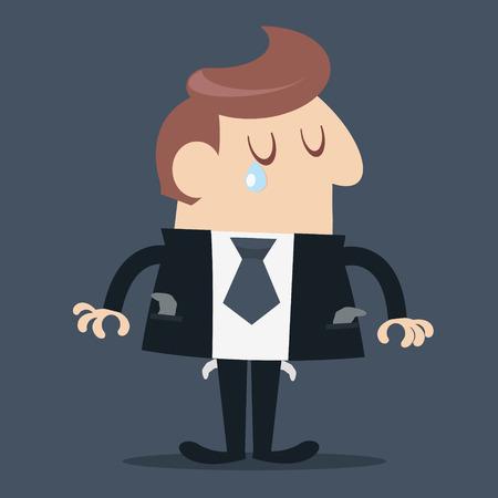 penniless: Businessman would be bankrupt Illustration