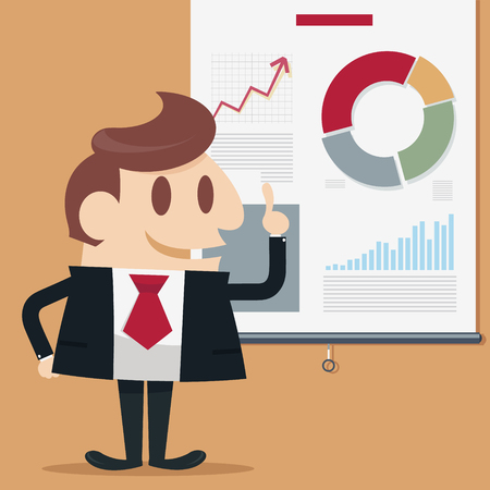 narrate: Businessman present descending business vector illustration