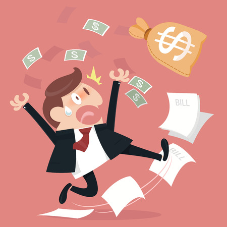 deviate: Business man and frightened about paying a lot of bill. Illustration