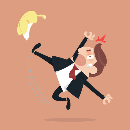 personal injury: Businessman slipping and falling from a banana peel