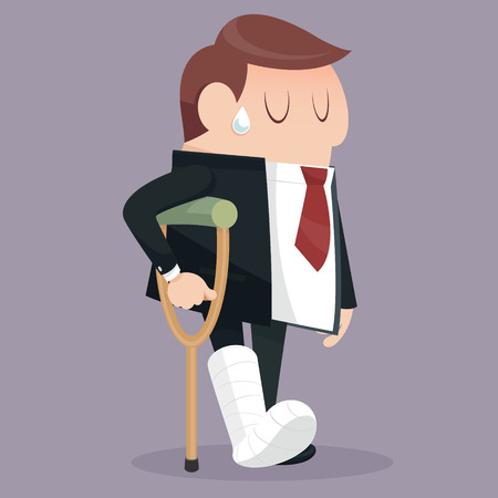 cartoon accident: He got hurt in the Businessman failure Illustration