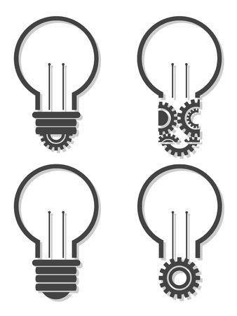 Light bulb with lightning in form of gear and idea word inside it, creativity, innovation concept Illustration