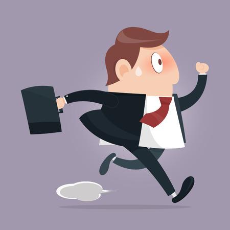 investor: Simple cartoon of a businessman running Illustration