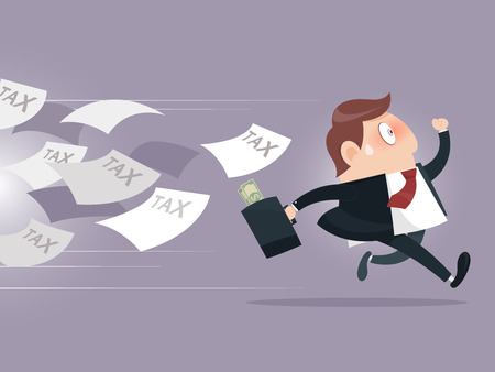 debt: Businessman running away from tax Illustration