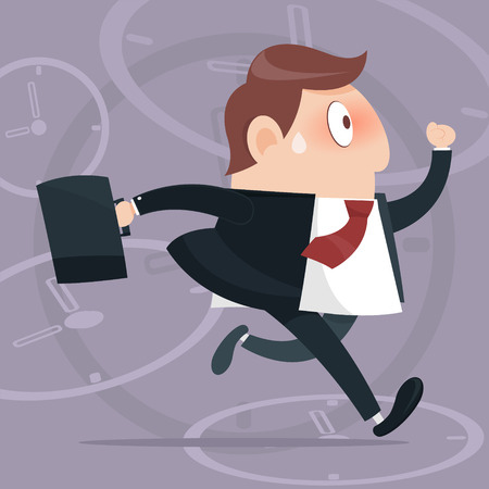 Vector business man competitive with businessman time background