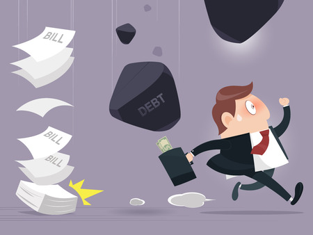 deviate: Business man and frightened about paying a lot of Debt