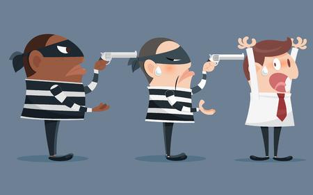 felon: Cartoon illustration of a robber holding a gun Illustration