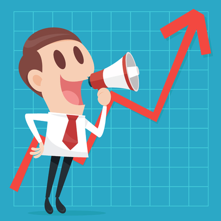 Businessman with business growing graph Illustration