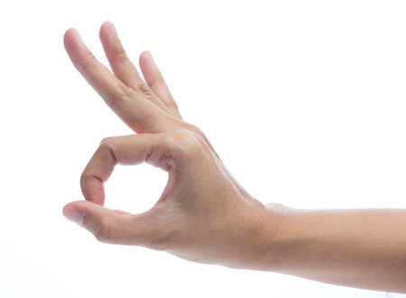 ok sign: Hand OK sign isolated on white background Stock Photo
