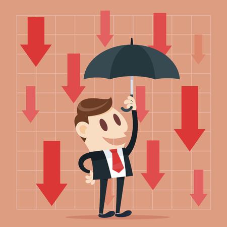 financial market: Business failure. Young worried businessman thinking about business graph with negative trend Illustration